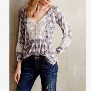 Anthropologie Porridge Crochet Peasant Blouse